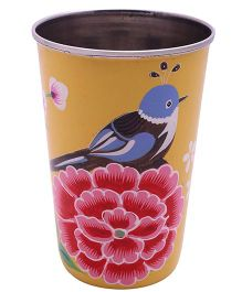 The Crazy Me Hand Painted Colorful Bird Tumbler - Yellow