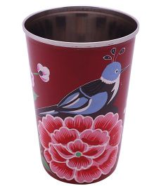 The Crazy Me Hand Painted Colorful Bird Tumbler - Maroon