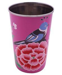 The Crazy Me Hand Painted Colorful Bird Tumbler - Pink