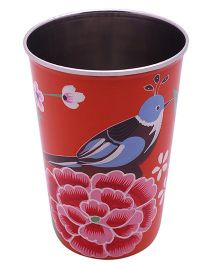 The Crazy Me Hand Painted Colorful Bird Tumbler - Red