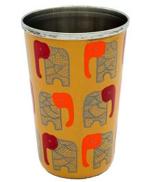 The Crazy Me Hand Painted Elephant Pattern Tumbler - Dark Yellow