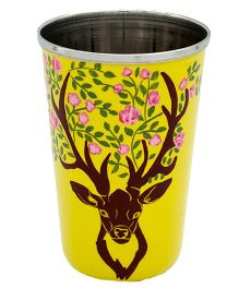 The Crazy Me Hand Painted Deer Tumbler - Yellow