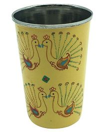 The Crazy Me Hanpainted Peacok Tumbler - Yellow