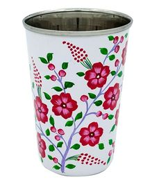 The Crazy Me Hand Painted Blossom Flower Pattern Tumbler - White