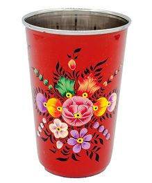 The Crazy Me Hand Painted Flower Pattern Tumbler - Red