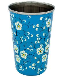 The Crazy Me Hand Painted Mystical Nature Pattern Tumbler - Blue