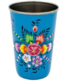 The Crazy Me Hand Painted Flower Pattern Tumbler - Blue