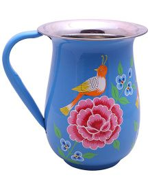 The Crazy Me Hand Painted Bird Jug - Blue
