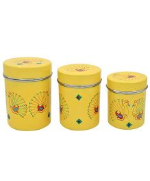 The Crazy Me Hand Painted Peacock Kitchen Boxes - Light Yellow