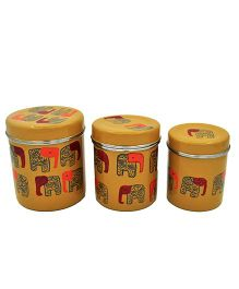 The Crazy Me Hand Painted Elephant Kitchen Boxes - Dark Yellow