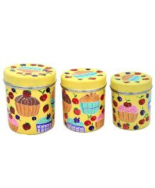 The Crazy Me Hand Painted Cupcake Kitchen Boxes - Yellow