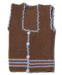 Soft Tots Attractive Front Open Vest - Brown