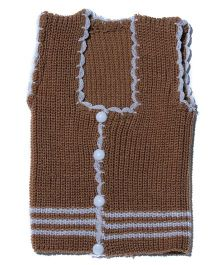 Soft Tots Attractive Front Open Vest - Brown