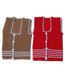 Soft Tots Pair Of Vest - Brown & Red