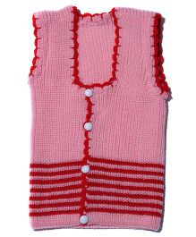 Soft Tots Dual Tone Sleeveless Vest - Pink & Red