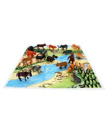 Playmate Wild Animal Set With PlayMat - 20 Animal Figures