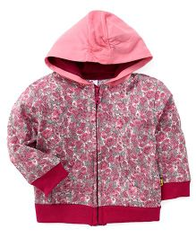 Tiny Bee Printed Hooded Jacket - Red