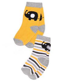Cute Walk By Babyhug Anti Bacterial Socks Stripe And Elephant Design Set Of Socks - Yellow Grey