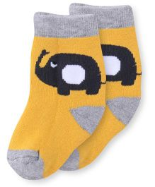 Cute Walk by Babyhug Anti Bacterial Socks Elephant Design - Yellow & Grey