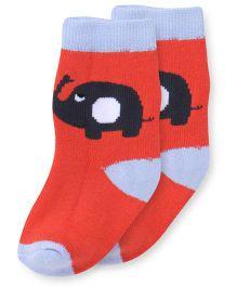 Cute Walk by Babyhug Anti Bacterial Socks Elephant Design - Coral & Sky Blue