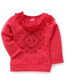 Play by Little Kangaroos Winter Wear Top With Fringes - Coral
