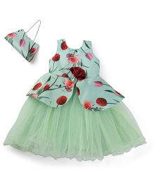 Bluebell Sleeveless Party Frock With Purse Flower Applique - Light Green