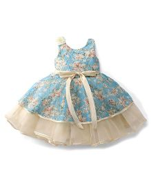 Bluebell Sleeveless Frock Flower Applique - Blue