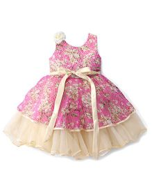 Bluebell Sleeveless Frock Flower Applique - Pink
