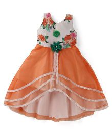 Bluebell Sleeveless Asymmetrical Party Frock Flower Applique - Orange White