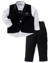 Robo Fry Party Wear 3 Pieces Set With Tie - Black & White