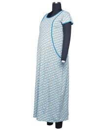 Kriti Short Sleeves Printed Nighty - Aqua Blue