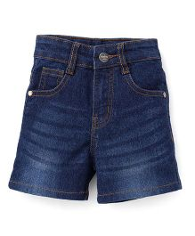 Babyhug Elasticated Whisker Style Denim Shorts - Blue