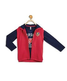 612 League Printed T-Shirt And Jacket 2 Pieces Set - Red & Navy