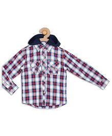612 League Full Sleeves Check Hooded Shirt - Red Blue