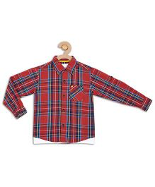 612 League Full Checks Shirt With T-Shirt - Red