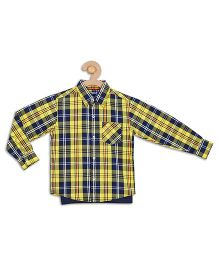 612 League Full Checks Shirt With T-Shirt - Yellow And Navy