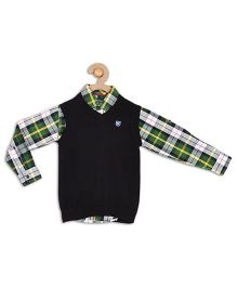 612 League Checks Shirt With Sweater - Green And Black
