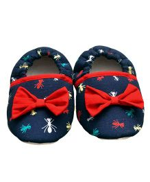 Daizy Bow Applique Baby Booties - Blue