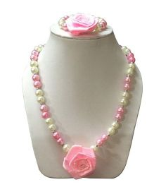 Daizy Pearl Necklace & Bracelet Set With Small Flower - Pink & White