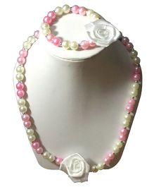 Daizy Pearl Necklace & Bracelet Set With Small White Flower - White & Pink
