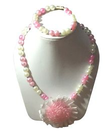 Daizy Pearl Necklace & Bracelet Set With Big Flower - Pink & White