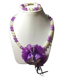 Daizy Pearl Necklace & Bracelet Set With Flower - Lavender & White