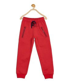 612 League Solid Color Joggers With Zippered Pockets - Red