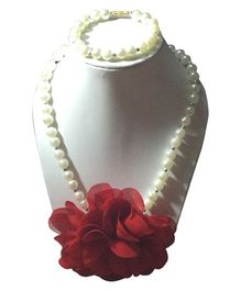 Daizy Pearl Necklace And Bracelet Set With Flower - Red & White