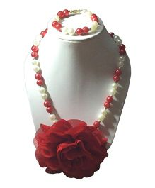 Daizy Pearl Necklace And Bracelet Set With Flower - Red
