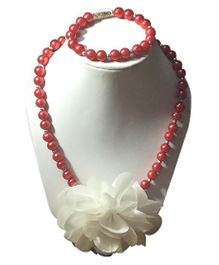 Daizy Lovable Red Flower Girls Jewellery Necklace Bracelet Set - Red & White