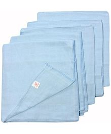 Tinycare Square Cloth Baby Nappy Blue Large - Set of 5