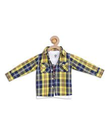 612 League Full Checks Shirt With T-Shirt - Yellow Navy And White