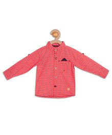 612 League Full Sleeves Printed Shirt - Red
