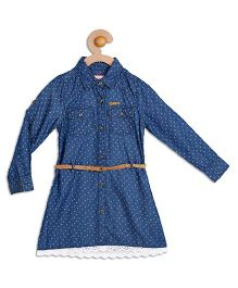 612 League Full Sleeves Printed Denim Shirt Dress - Blue